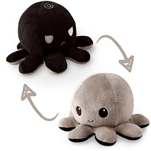 The Original Reversible Octopus Plushie | TeeTurtle's Patented Design | Black and Gray | Show your mood without saying a word!