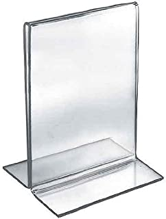 Azar Displays 152733 5.5-Inch Width by 8.5-Inch Height Double-Foot Acrylic Sign Holder, 10-Pack