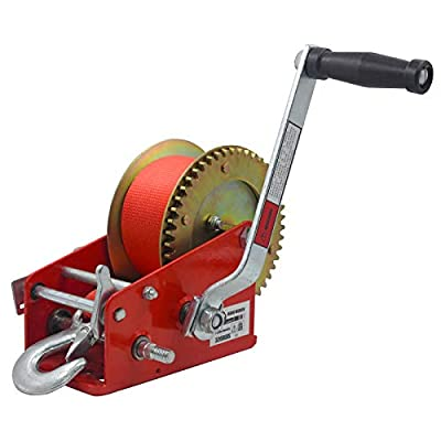 OPENROAD 3200lbs Hand Winch Boat Trailer Winch, with 10m (32ft) Strap Crank Winch Manual Hand, Quality Boat use Towing Winch (Red 3500lbs)
