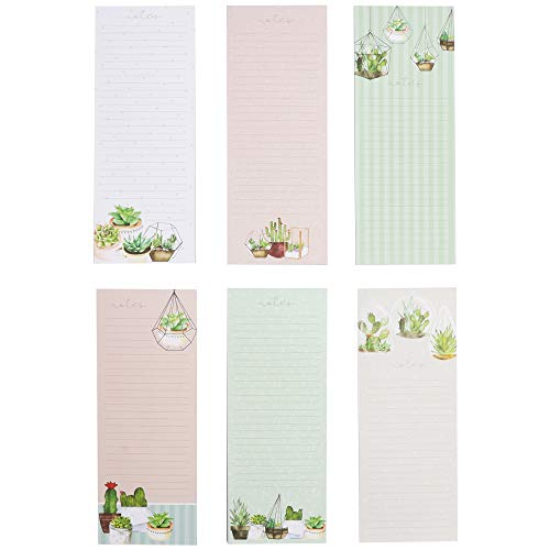 Magnetic To Do List Notepads, Succulent Design (40 Sheets, 12-Pack)