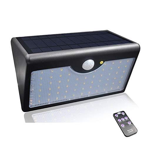 L.J.JZDY Solarleuchten Solar Light 1300lm 60 LED 5 Modi mit Steuerpult IP65 Wasserdichten Sonnenenergie-Lampe for im Freien Garten-Wand Zaun Yard (Color : Schwarz, Size : One Size)