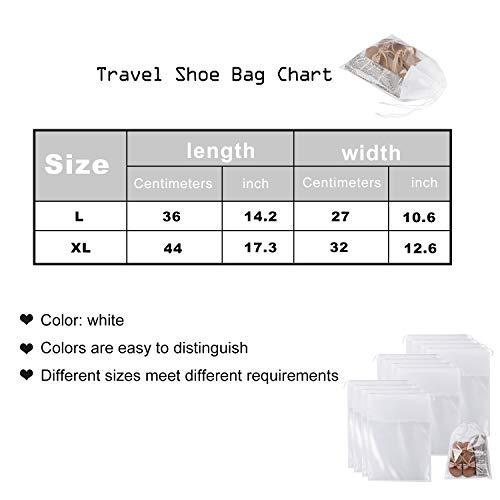 SATINIOR 12 Pieces Travel Shoe Storage Bag Non-Woven Storage Bag Portable Shoes Pouch with Transparent Window for Men Women (White, 17.3 x 12.6 inch)