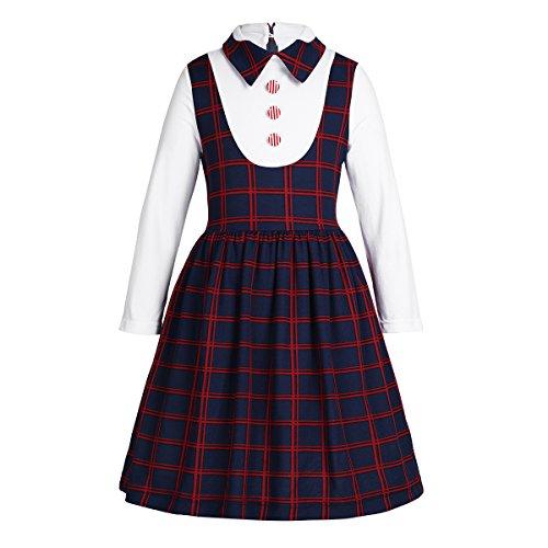 iEFiEL Kids Girls Dress School Uniform Long Sleeve Plaid Dress for Birthday Party School Casual Navy Blue 5