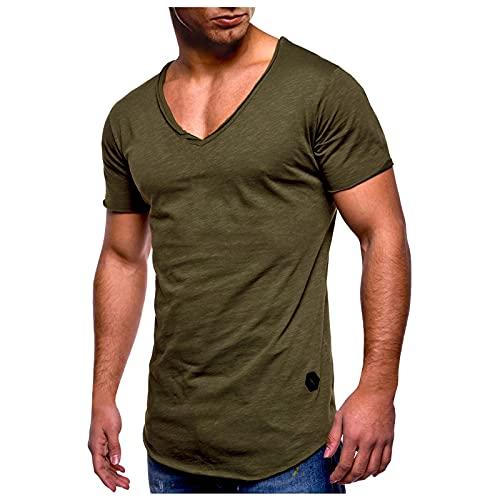 Tshirt Herren Kurzarm V-Ausschnitt Slim Fit Lässige Fitness Sport T-Shirt Männer Sportshirt Muskelshirt Funktionsshirt Sweatshirt Laufshirt Trainingsshirt