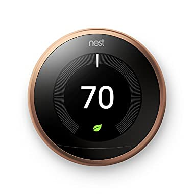 Nest Learning Thermostat, Easy Temperature Control for Every Room in Your House, Copper (Third Generation), Works with Alexa