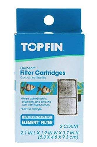 Top Fin Filter Cartridges 2 Count (2.1 in x 1.9 in x 3.7 in)