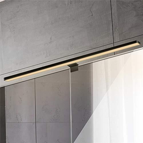 ERWEY 2-i-1 LED spegellampa IP44 badrumslampa LED badrumslampa svart 60 cm sminklampa 230 V skåp ljus badrum vägglampa (svart 60 cm 3000 K 8 W)