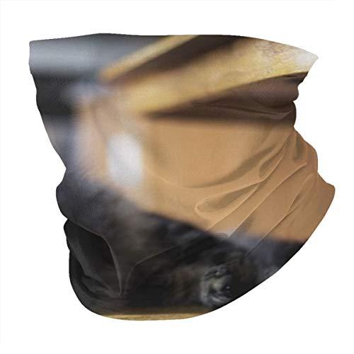 Kopftuch, personalisierbar, Outdoor-Stirnband, Sport-Kopfbedeckung, braun, getigerte Katze auf Holz-Windsor-Stuhl