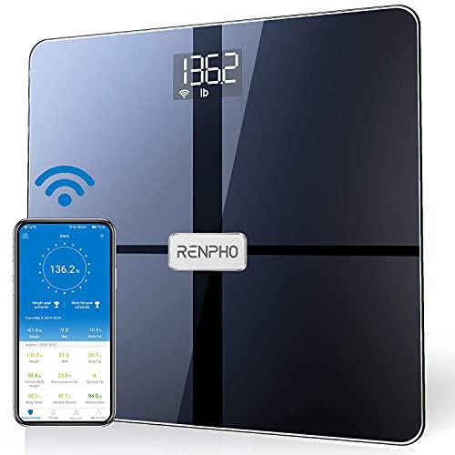 Báscula RENPHO Wi-Fi, báscula de grasa corporal conectada por Bluetooth, 13 mediciones Análisis de composición corporal y monitor de salud