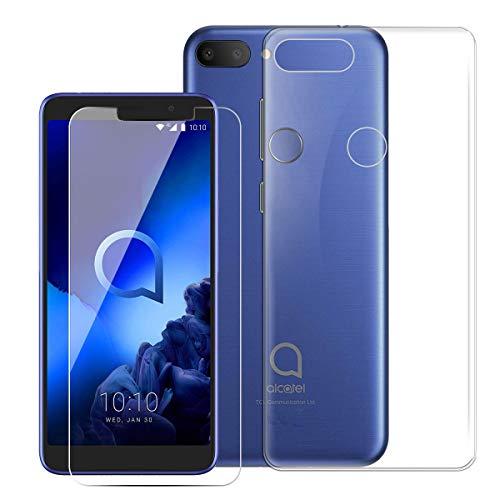 QFSM 1 Pcs HD Película Protectora Cristal Templado Pantalla para Alcatel 1S 2019 Smartphone + 1 Pcs Transparente Funda para Alcatel 1S 2019 Silicona Carcasa TPU Case Cover-Clear