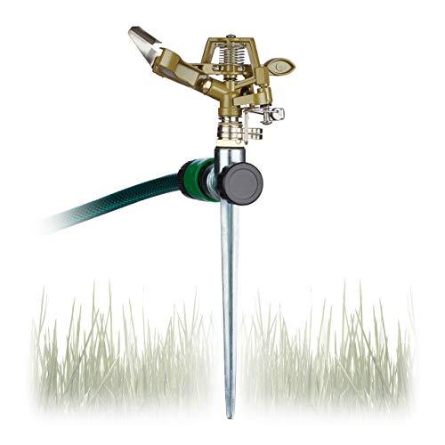 Relaxdays, Bewässerung großer Flächen bis 700 m², 15 m Reichweite, 360°, Rasensprenger, grün Impulsregner Kreisregner