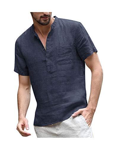 COOFANDY Herren Leinenshirt Kurzarm Stehkragen Leinen mit Brusttaschen Sommer Slim Fit Casual Leicht Shirts für Männer Marine Blau M