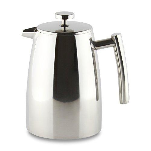 Café Stål Belmont Doppelwandiger Kaffeebereiter aus hochwertigem 18/10 Edelstahl – 16 Mokktassen, 2L, Hochglanzpolitur, Tamper