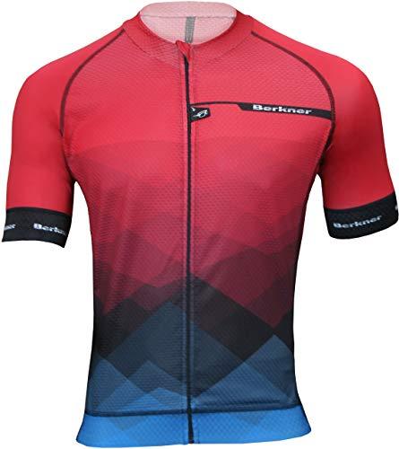 Berkner Pablo Maillot de Cyclisme Rouge avec ions argentés Taille 5XL XL Noir/Rouge