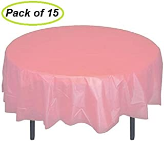 pink round plastic tablecloths
