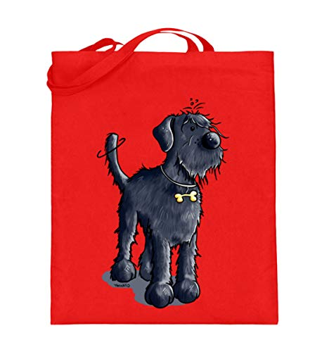 Drolliger Schnauzer Hund I Riesenschnauzer I Mittelschnauzer I Hund Geschenk I Hundemotiv - Jutebeutel (mit langen Henkeln) -38cm-42cm-Rubin Red