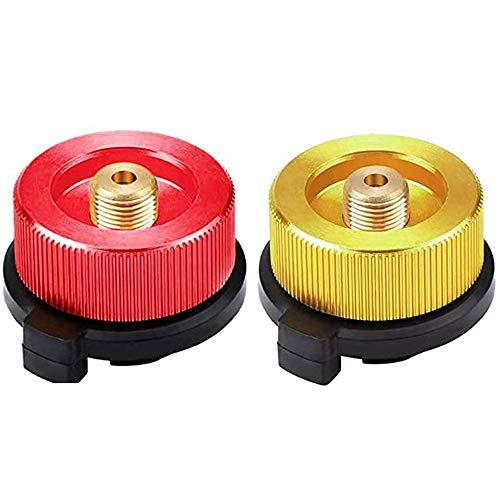 ALUYF Conector de Estufa de Camping Adaptador para Cartuchos de Gas para Estufa de Quemador de Estufa Tipo de Botella de Boquilla de conversión de Cabezal de Cartucho de Gas Rojo y Amarillo 2 Piezas