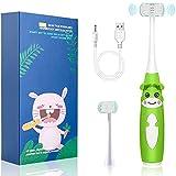 Cepillo de dientes eléctrico para niños, cepillo de dientes de 3 lados cerdas suaves de grado alimenticio, IPX7 impermeable, divertido y fácil limpieza, 2 cabezales de cepillo (verde)