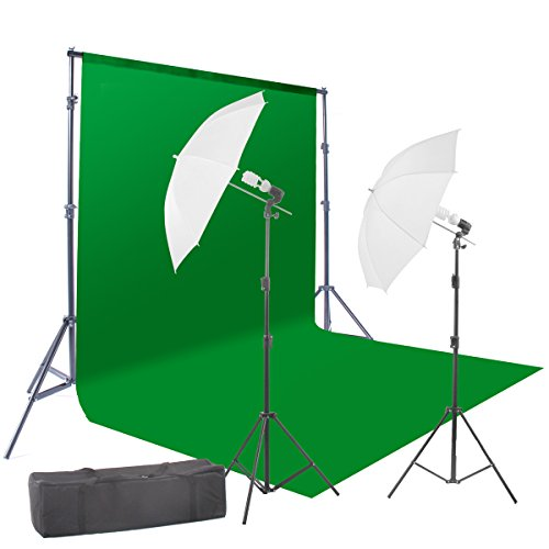 StudioFX 400W Chromakey Green Screen 6ft x 9ft Backdrop Photography Video Lighting Kit - Background Support System Included - by Kaezi CH69G