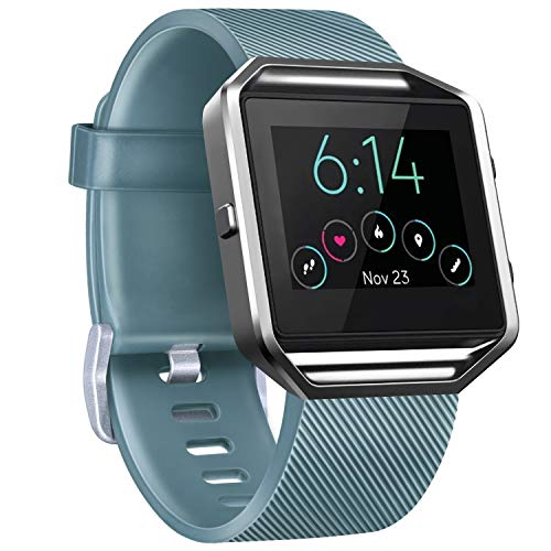 Vancle Replacement Strap compatible with Fitbit Blaze, Not Included Fitbit Blaze and Frame (Slate, S)