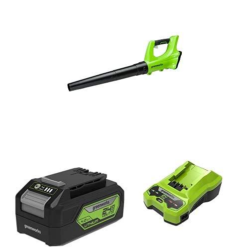 Greenworks Soplador de Hojas de batería G24AB + Batería G24B4 2ª generación Recargable de Li-Ion 24 V 4.0 Ah + Cargador de baterías G24C