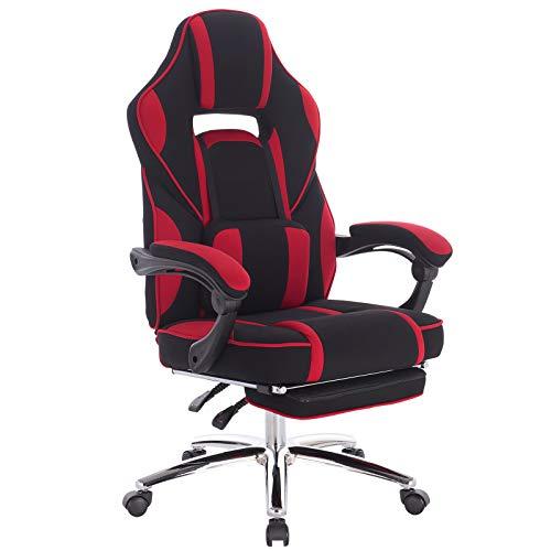 WOLTU Gaming Stuhl Racing Stuhl Bürostuhl Chefsessel Schreibtischstuhl Sportsitz mit Lendenkissen, mit Fußstütze, Stoffbezug, höhenverstellbar, Rot, BS26rt