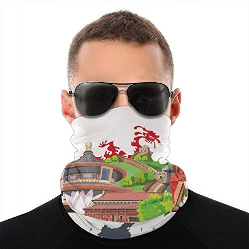 MSGDF Variedad Bufanda de cabeza Windbreak Face Cover 3D,Atributos chinos de estilo vintage de Phoenix vestido Lotus Flower Dragon Palace,Calentador de cuello bandanas a prueba de viento