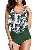 Maillot de Bain 2 Pièces Sexy Bikini Imprimé avec Volants Vert XXL