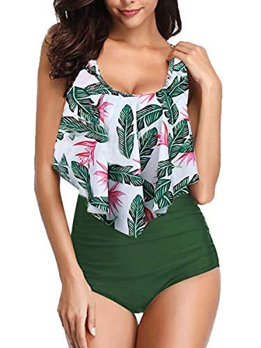Maillot de Bain 2 Pièces Femme Bikini Rembourré à Bretelles Bain de Soleil Sexy Chic-Maillots À Volants Vert XL