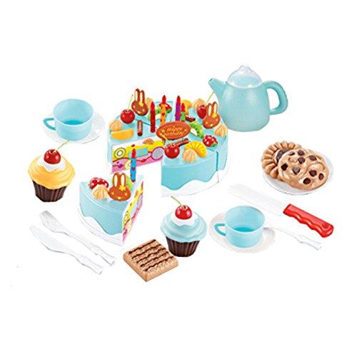 54 pièces de coupe de gâteau Pretend Play Set alimentaire pour les enfants,Bleu