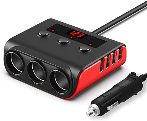 Adaptador de encendedor de cigarrillos, 12 V/24 V, 100 W, 3 enchufes, cargador de coche con 4 puertos de carga USB y voltímetro LED, cargador de coche