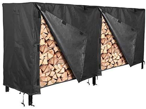 femor Log Rack Cover 8 Feet 600D Heavy Duty Waterproof Patio Outdoor Firewood Rack Cover Black
