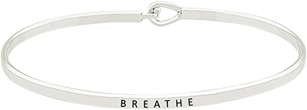 'Breathe'' Inspirational Quote Mantra Phrase Engraved Thin Bangle Hook Bracelet - Positive Message Jewelry Gifts for Women & Teen Girls