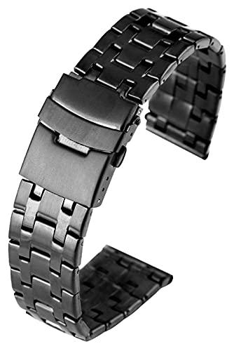 FETTR Correa de reloj de pulsera negra, correa de acero inoxidable superior, cierre plegable firme con correa de seguridad de 20/22 mm, correa unisex (color: negro, tamaño: 20 mm)