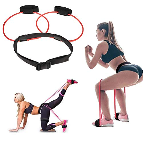 Women Fitness Booty Bands Exercise Resistance Bands with Adjustable Waist Belt for Legs Butt Ankle Resistance Training, Leg Workout Equipment Muscles Trainer (20 lb)