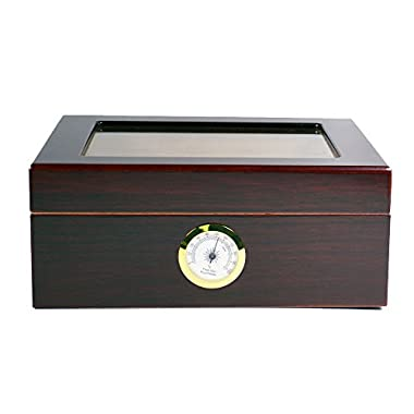 Quality Importers Desktop Humidor, Capri, with Tempered Glasstop, Cedar Divider, and Brass Ring Glass Hygrometer, Holds 25 to 50 Cigars, by