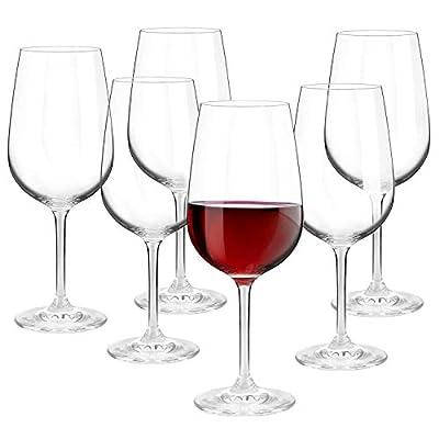 Red Wine Glasses Set of 6. Crystal Wine Glasses, Italian Wine Glasses, LEAD-FREE CRYSTAL, Brilliant clarity, Thin Rim, Stemmed glasses, Elegant Gift for Women, 17.2oz/490ML