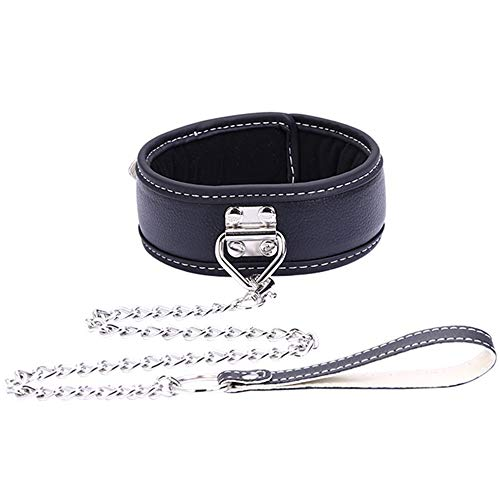 PU Leather Adjustable Necklace Neckband Collar Choker Chain with Lock Key Detachable Leash for Men Women