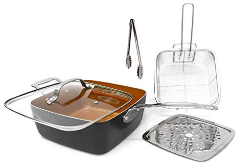 Gotham Steel As Seen on TV All in One Pan! Titanium and Ceramic 9.5 Deep Square Frying & Cooking Pan With Lid - Frying Basket - Steamer Tray - Utility Tong - 5 Pcs Set