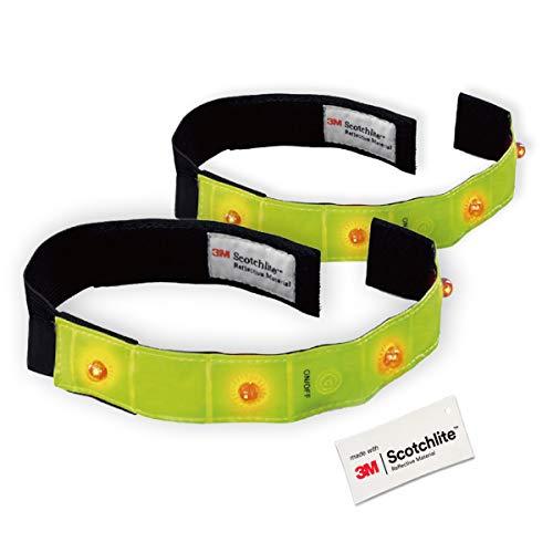 Salzmann 3M Reflektorenband mit LED-Licht | Leuchtendes Armband zum Laufen und Radfahren | Hergestellt mit 3M Scotchlite