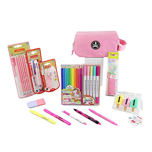 Starplast, Pack Material Escolar, Set Material Escritorio, Lote Productos Escolar, Diferentes Productos, con Tarjeta Personalizable, Color Rosa