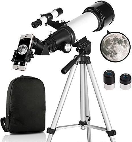 OYS Teleskop, Teleskope für Erwachsene, 70 mm Apertur, 400 mm AZ-Halterung, Teleskop für Kinderanfänger, vollständig mehrschichtige Optik, Astronomie-Refraktor mit Stativ, Telefonadapter, Rucksack