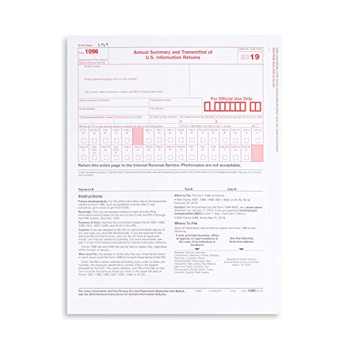 1096 Transmittal 2019 Tax Forms,...