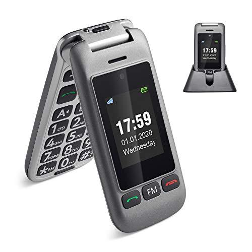 artfone Seniorenhandy, 3G Klapphandy Dual Bildschirm Flip Mobiltelefon Senioren-Handy Großtastenhandy ohne Vertrag mit Notruftaste Taschenlampe Dual SIM Rentner Handy (mit Ladestation, Grau)