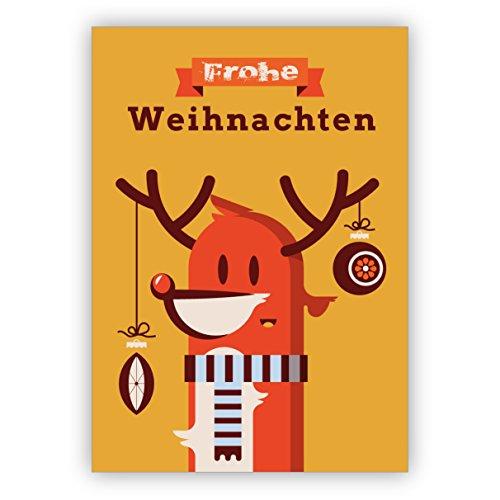 1 grappige retro kerstkaart met versierde rendier met sjaal: Vrolijk kerstmis • als feestelijke wenskaart voor Kerstmis, voor jaarwisseling voor familie en bedrijf