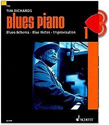 Partitions Piano Blues Band 1par Tim Richards-Schéma Blues-Notes de blues-Improvisation-Avec CD et trombone en forme de cœur