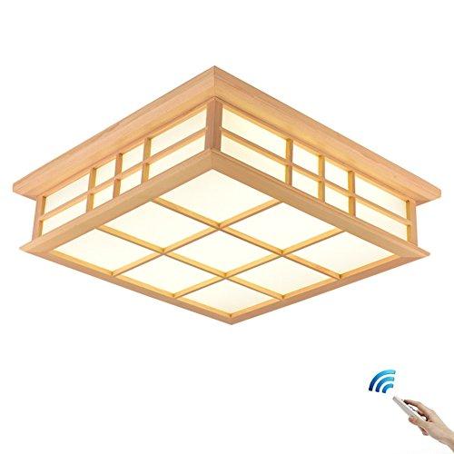 SJUN Japanische Tatami Deckenlampe und Zimmerlampe LED Massivholzlampe Deckenleuchte Japanische Art Holzlampe Koreanische Lampe (Color : Stufenloses Dimmen, Größe : 65X65CM)