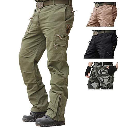 FREE FLY Herren Baumwolle Outdoor Tactical Hose Cargo Hose M?nner Combat Hose mit vielen Taschen Arbeitshose (Armeegrün, Waist 34