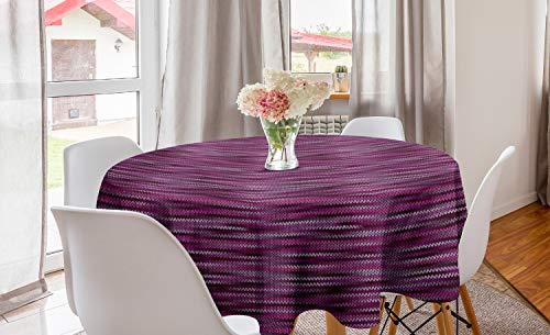 ABAKUHAUS Magenta Rond Tafelkleed, Vintage Brei Patroon, Decoratie voor Eetkamer Keuken, 150 cm, violet Fuchsia
