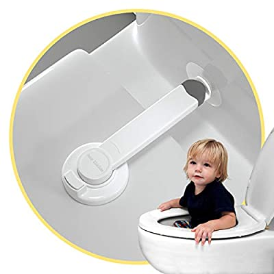 Baby Proofing Toilet Lock [2 Pack] Upgraded Gapless Pallet Mechanism for Child Safety, Universal Fit for Most Toilet Lid, Toolless 3M Adhesive Intallation with No Damage to Toilet. by 4our Kiddies